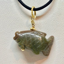 Load image into Gallery viewer, Unique! Bloodstone Koi Fish W/ 22K Vermeil Pendant 509265BSG - PremiumBead Primary Image 1