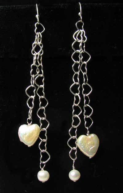 Valentine Heart Pearl and Solid Sterling Silver Hand Made Earrings 304811 - PremiumBead