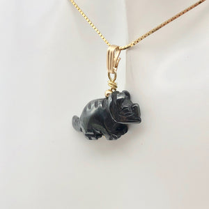 Hematite Triceratops Dinosaur with 14K Gold-Filled Pendant 509303HMG - PremiumBead Alternate Image 6