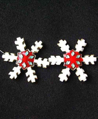 2 Red Cloisonne Snowflake Centerpiece 30x27x4mm Beads 8638E - PremiumBead