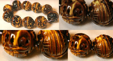 Load image into Gallery viewer, 19mm Premium Tiger's Eye Carved in Hongshan Style Long Life Dragon Bead 4843B1 | 19mm | Golden Brown - PremiumBead