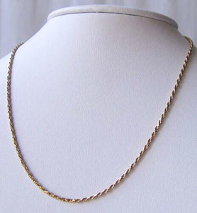 "Italian Vermeil 1.5mm Rope Chain 16"" Necklace 10024A - PremiumBead"