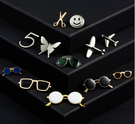 Glasses Sunglasses Frame Openwork Scissor Badge Small Brooch Pin Fashion Women Men Suit Dress Shirt Collar Clothing Accessories