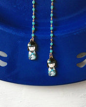Load image into Gallery viewer, Tokio: necklace and glasses chain with blue beads and kokeshi