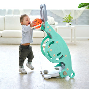 Three in One Multifunctional Kids Slide Ball Hoop Rocking Chair - Mate Stores AU