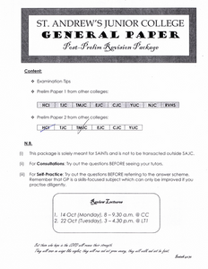 SAJC GP Revision Package 2019 (Qns + Answers provided)
