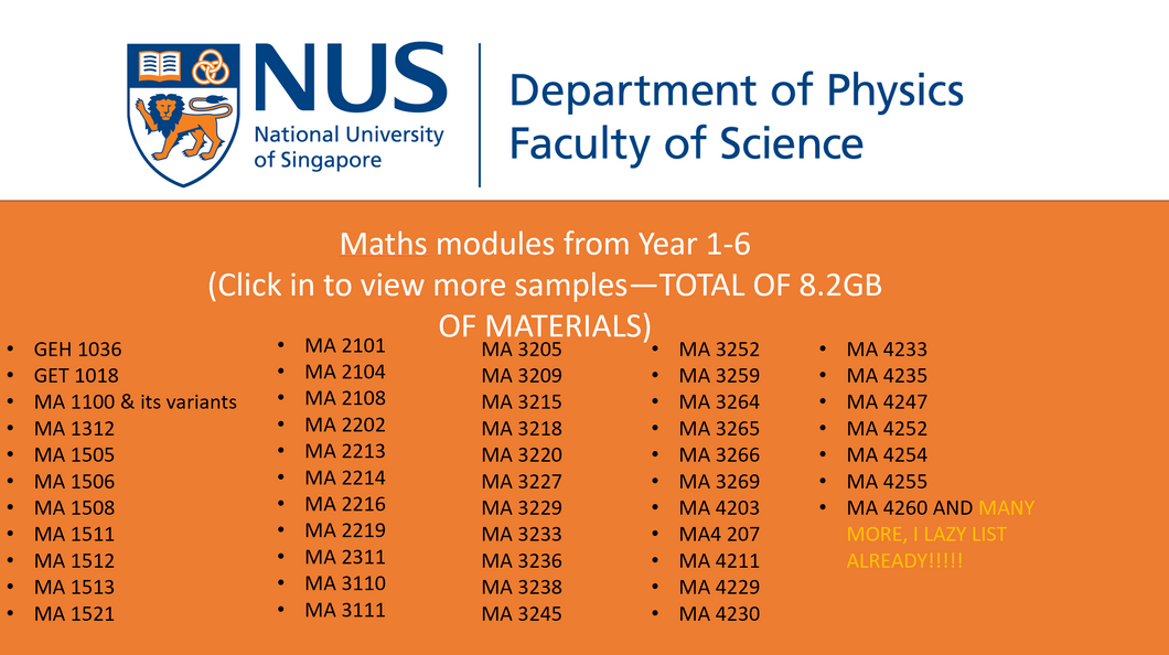 NUS MATHS BUNDLE (ALL MODS) NEWLY UPDATED VERSION -- AS OF APRIL 2020