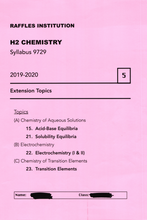 Load image into Gallery viewer, RJC H2 Chemistry: Extension Topics 2019-2020 pdf