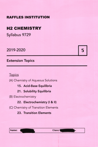 RJC H2 Chemistry: Extension Topics 2019-2020 pdf