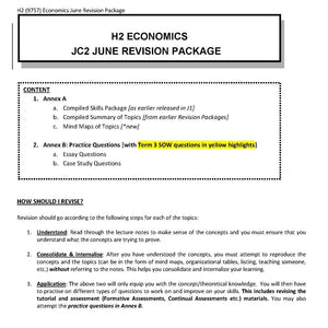 HCI H2 Econs JC2 June Holiday Revision Package