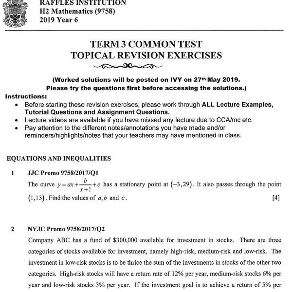 2019 RJC JC2 H2 Math Topical Revision Exercises / Exam Paper / Prelim Paper