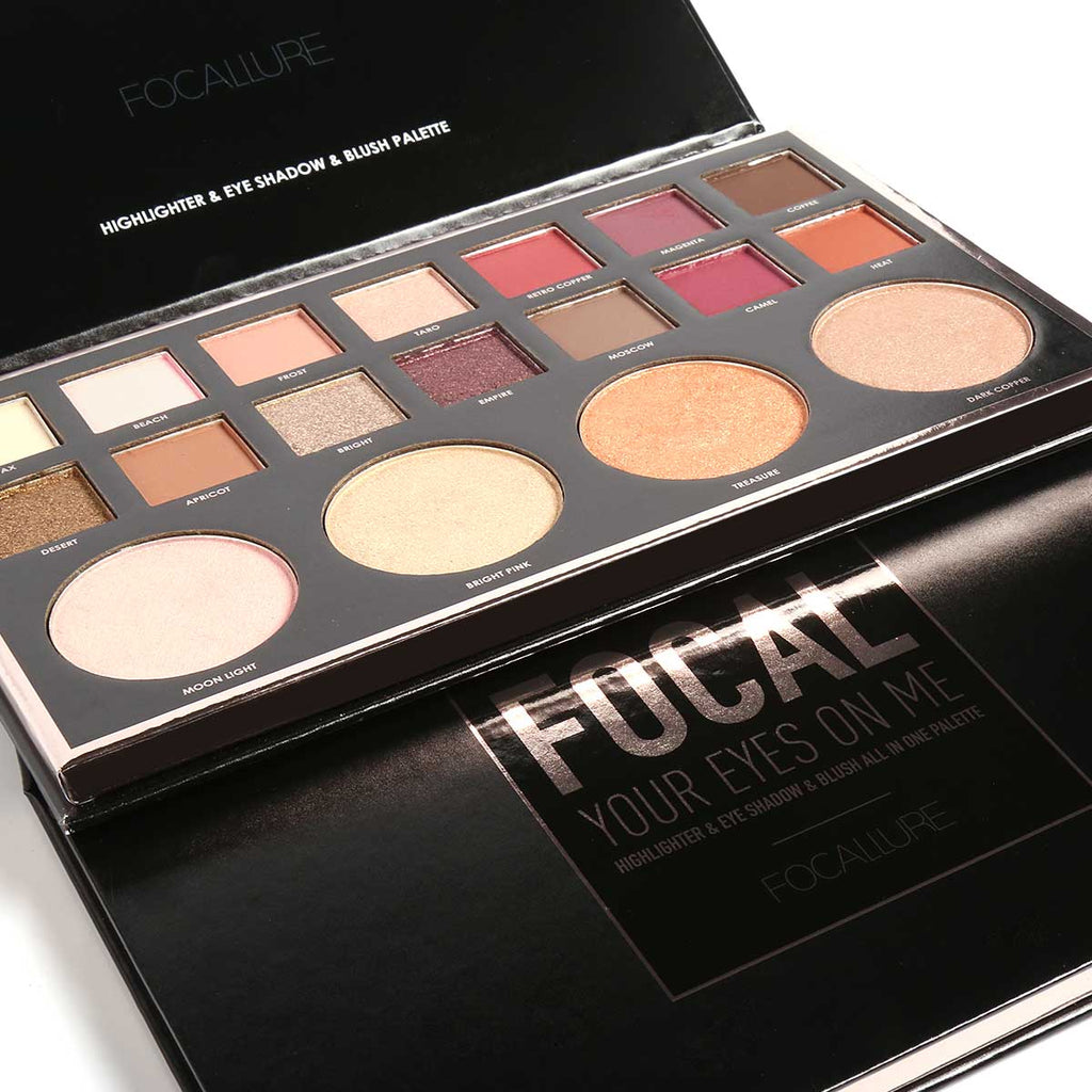 FOCALLURE 14 Colors Eyeshadow and 4 Colors Blush Highlighter