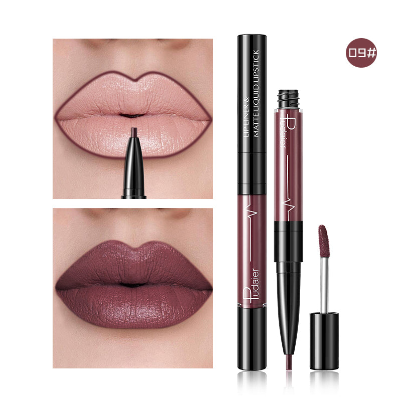 Pudaier Lip liner and Liquid Matte Lipstick Double-head