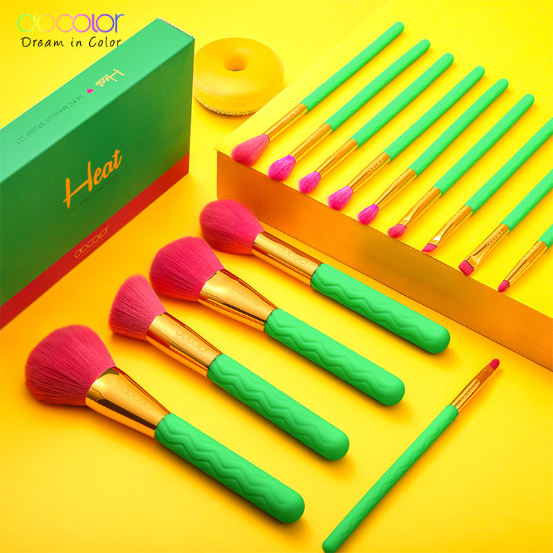Docolor Heat 14 PCS Professional Makeup Brushes