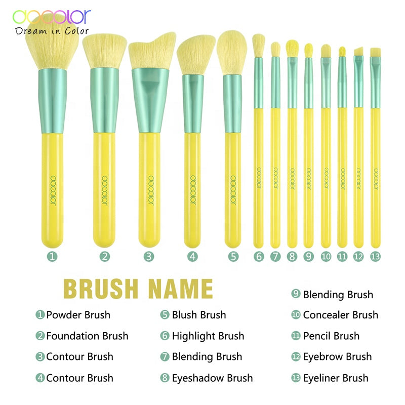 Docolor Neon 13 Pcs Makeup Brushes