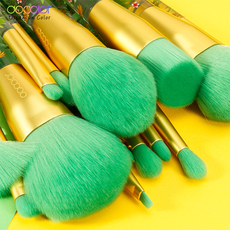 Docolor Transparent Leaf Makeup Brushes 14 Pcs
