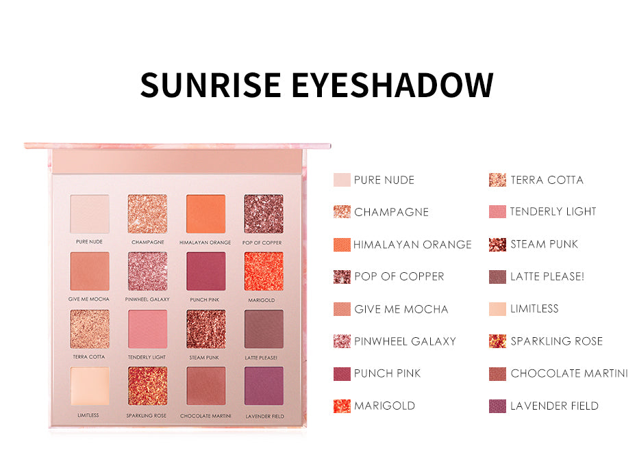 Focallure 16 Color Sunrise Shimmer Eye shadow Palette