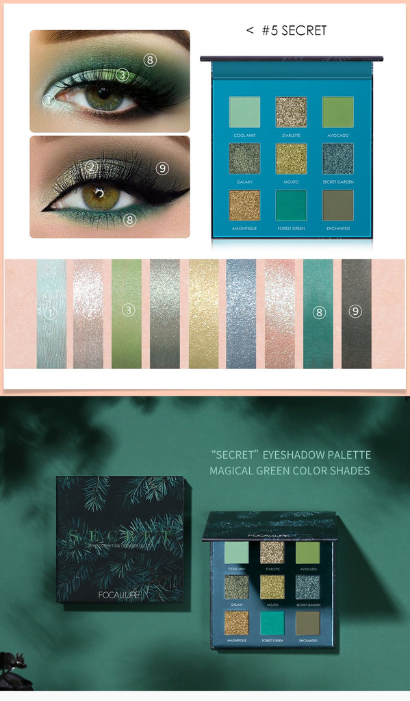 Focallure Secret 9 Color Green Glitter Eyeshadow Palette