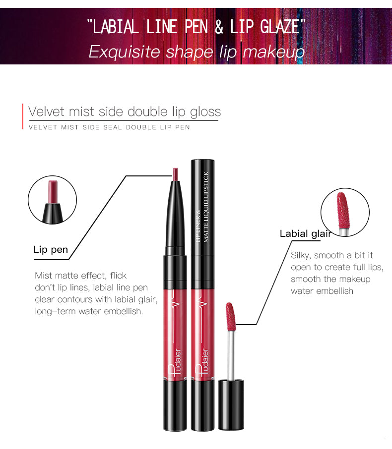 Pudaier Lip liner and Lip gloss Double-head