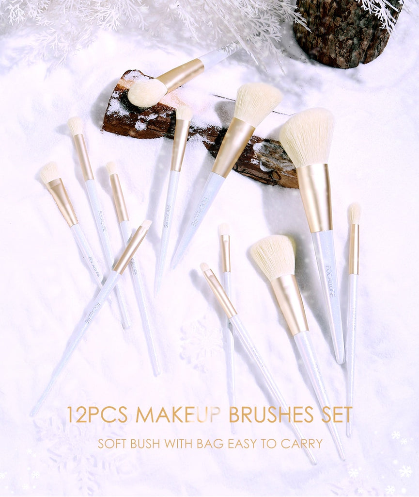 FOCALLURE 12PCS Snow Elf Professional Makeup Brushes Set + Bag