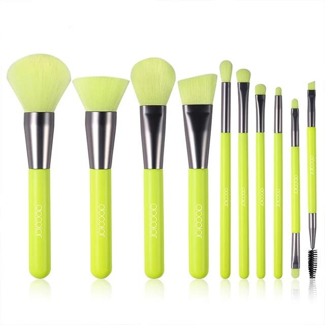 Professional make up brushes neon green