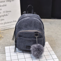 Small Fashion Women's Backpack New Shoulder Bag Hairball Casual Backpacks Girls Ladies School Bag Mochilas Student Shoulder Bags