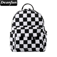 Deanfun Mini Backpack 3D Printed Classical Black And White Lattice Waterproof Backpack Women Shoulder Bag For Teenages MNSB-8