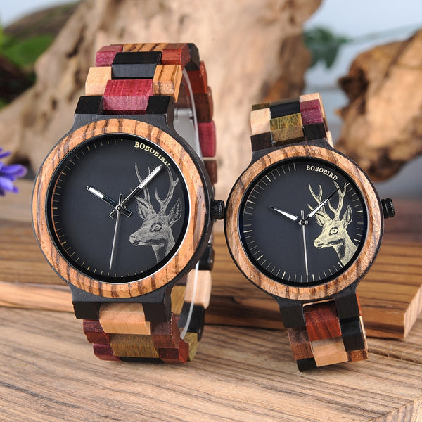 Reloj Mujer BOBO BIRD Wooden Couple Watch Men Women Valentine Birthday Anniversary Custom Wristwatch Special gift dropshipping