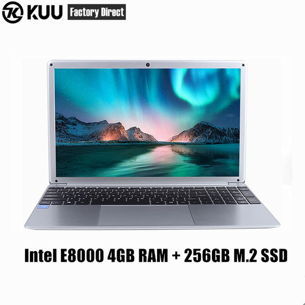 KUU RX-5 Laptop 15.6 Inch IPS Screen For Intel E8000 Quad Core 256GB M.2 SSD Netbook HDMI WiFi Bluetooth for office study