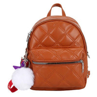 Casual Women Backpack PU Leather Lattice Pattern Pompom Decor Small Rucksack Solid Color Shoulder Bag Bolsas Feminina