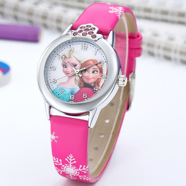 Elsa Watch Girls Elsa Princess Kids Watches Leather Strap Cute Children's Cartoon Wristwatches Gifts for Kids Girl