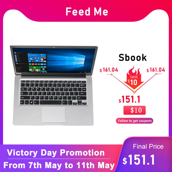 Student laptop 14.1 inch 4GB RAM 64GB ROM Notebook with WiFi BT Webcam for movies work internet Class