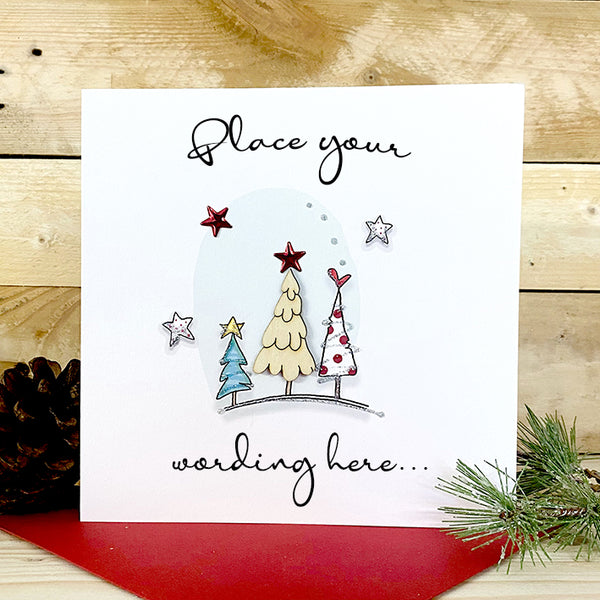 Personalised Wooden Christmas Tree Card