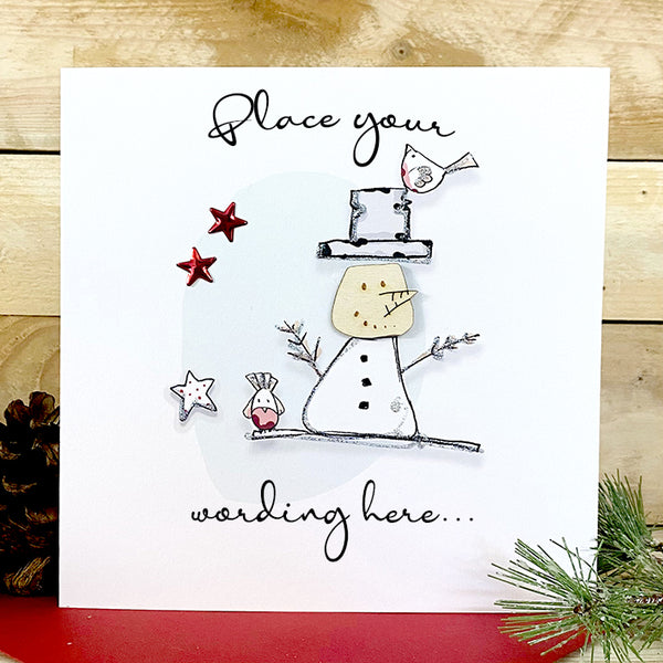 Personalised Wooden Snowman Card