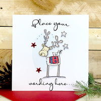 Personalised Wooden Reindeer Card