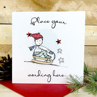 Personalised Christmas Boy Sledge Card