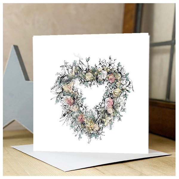 Personalised Heart Wreath Card