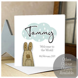 Personalised Wooden Bunny Baby Card