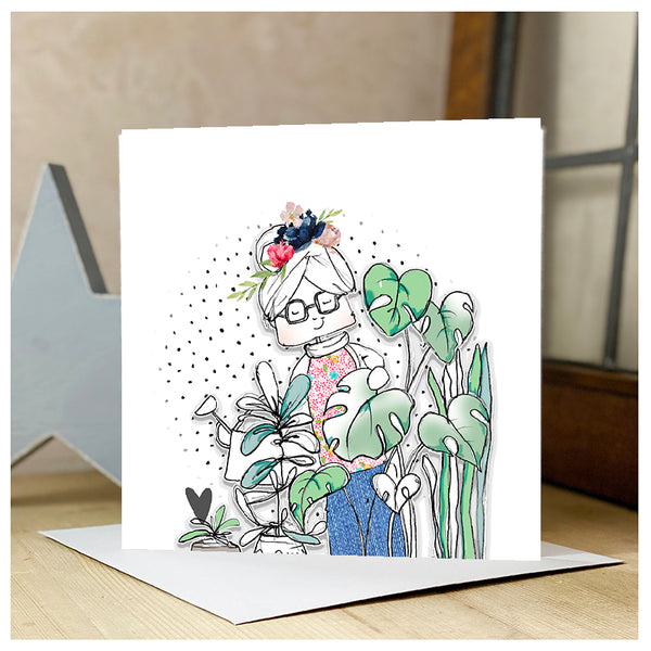 Personalised Lady watering plants Card