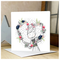 Personalised Lady Holding Heart Card