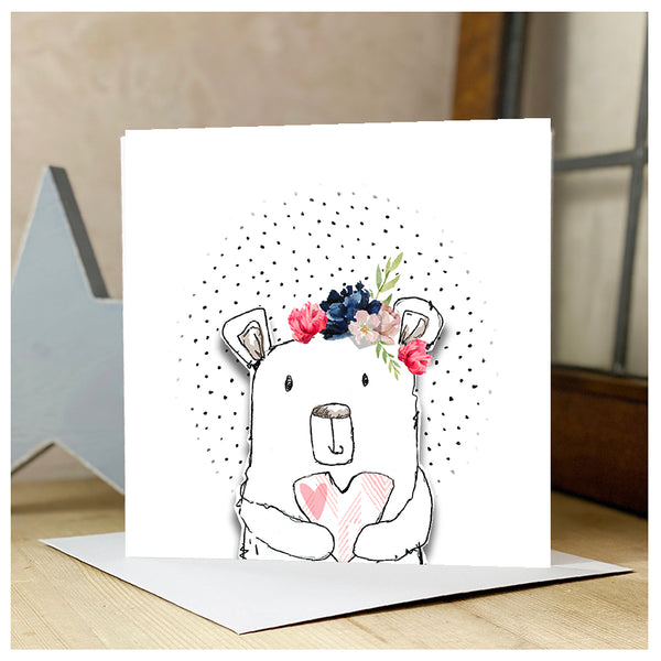 Personalised Bear & Heart Card