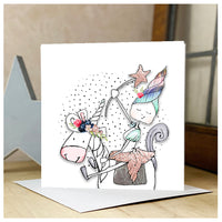 Personalised Girl Riding A Unicorn Card