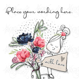 Personalised Lady with Flowers Card