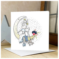 Personalised Lady & Boy Moon Card