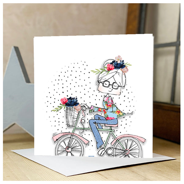 Personalised Lady riding a bike (with Glasses)