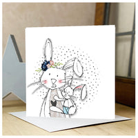 Personalised Mother Rabbit & Baby Bunny Card Blue
