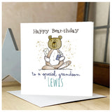 Personalised Wooden Bear Card