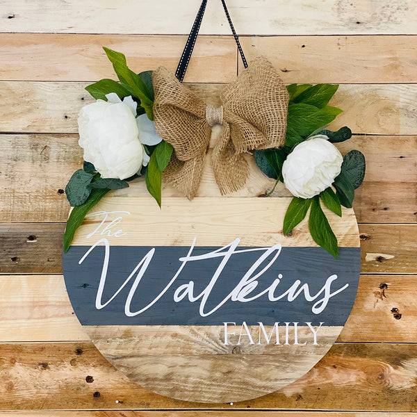 Personalised Reclaimed Wooden House Plaque, 16 Inch , White Flowers