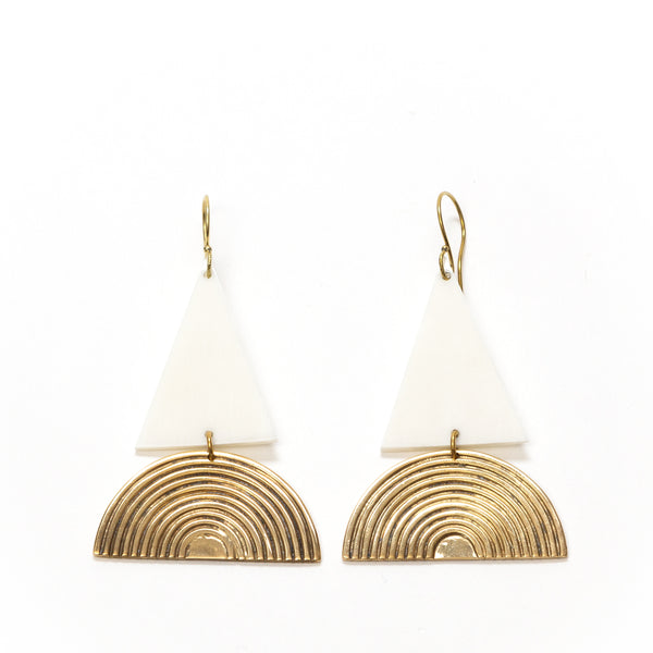 White Bone Brass Earrings