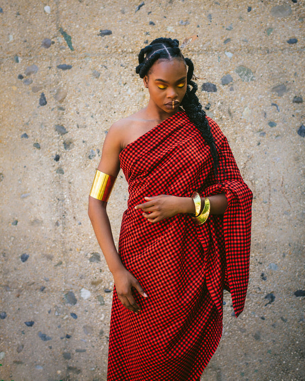 Maasai Shuka - Red/Black
